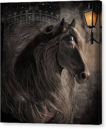 Horse In Art Canvas Print - Friesian Glow by Fran J Scott