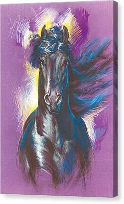 Friesian Horse Variant 1 Canvas Print by Zorina Baldescu