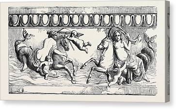 Terra Canvas Print - Frieze In Terra-cotta Marine Venus And Amphitrite by English School