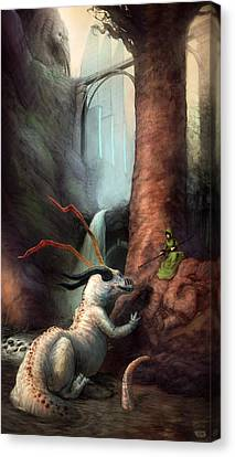 Frigga And The Water Dragon Canvas Print by Ethan Harris