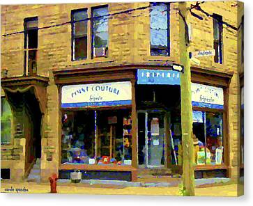 Friperie Point Couture Psc Rue Charlevoix South West Montreal Street Scene Art Carole Spandau Canvas Print by Carole Spandau