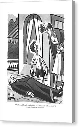Unconscious Canvas Print - Frisbee Said I Could Go Ahead And Let by Peter Arno