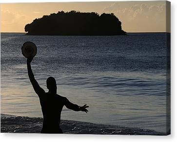 Canvas Print featuring the photograph Frisbee Toss by Paul Miller