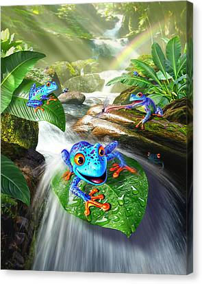 Wet Leaves Canvas Print - Frog Capades by Jerry LoFaro