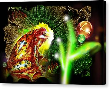 Canvas Print featuring the mixed media Frog Dreaming by Hartmut Jager