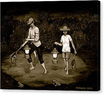 Frog Hunters Black And White Photograph Version Canvas Print