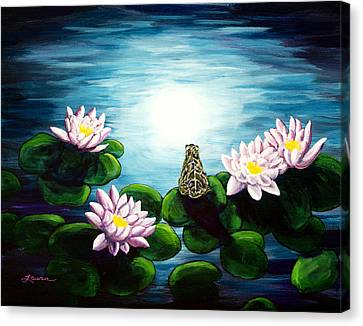 Frog In A Moonlit Pond Canvas Print by Laura Iverson