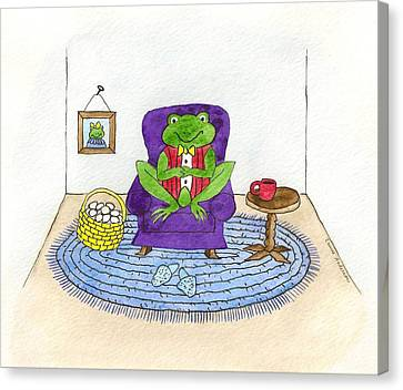 Frog In Purple Chair Canvas Print