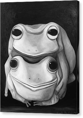 Frog Love-the Embrace Edit 2 Canvas Print by Leah Saulnier The Painting Maniac