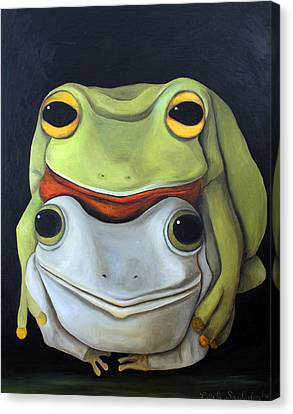 Frog Love-the Embrace Canvas Print by Leah Saulnier The Painting Maniac