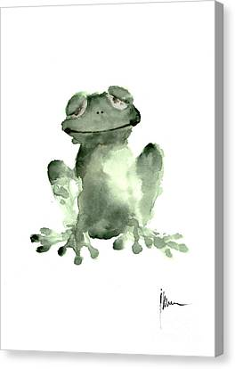 Frog Watercolor Canvas Print - Frog Painting Watercolor Art Print Green Frog Large Poster by Joanna Szmerdt