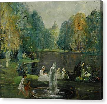 Frog Pond In Boston Public Gardens Canvas Print by Arthur Clifton Goodwin