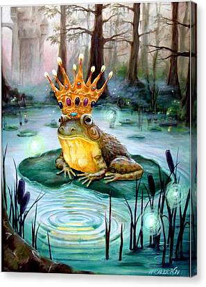 Cattail Canvas Print - Frog Prince by Heather Calderon