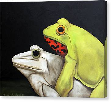 Froggy Style Edit 2 Canvas Print by Leah Saulnier The Painting Maniac