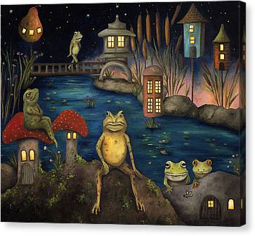 Mushrooms Canvas Print - Frogland by Leah Saulnier The Painting Maniac