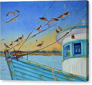 Canvas Print featuring the painting Frogmore Shrimp Birds by Dwain Ray