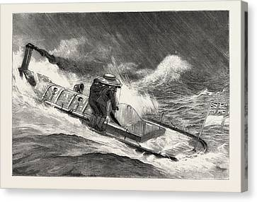 Stormy Weather Canvas Print - From Hong Kong To Macao In A Torpedo Boat, Full Speed by English School