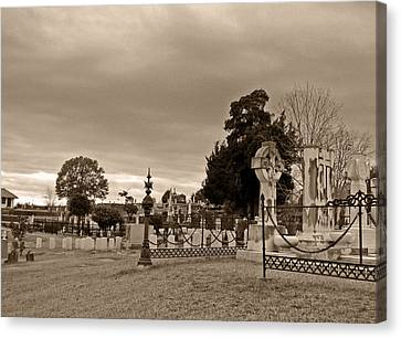 Canvas Print featuring the photograph From One Headstone To Another.......shhhh by Max Mullins