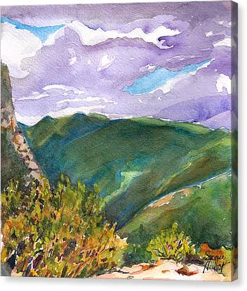 Canvas Print featuring the painting From Tuckerman's Ravine by Susan Herbst