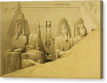 Front Elevation Of The Great Temple Of Aboo Simbel Canvas Print by David Roberts