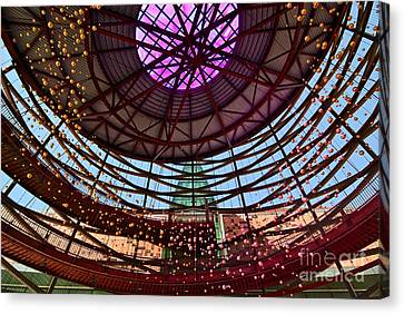 Abstract Art On Canvas Print - Front Entry Plaza Of The California Science Center In Los Angeles by Jamie Pham