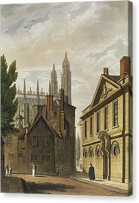 Front Of Trinity Hall, Cambridge Canvas Print by Augustus Charles Pugin
