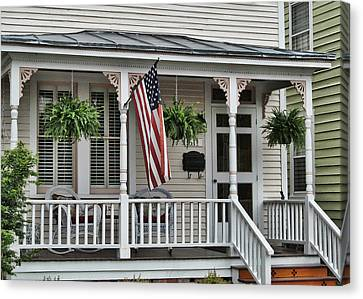Front Porch Flag Canvas Print by Victor Montgomery
