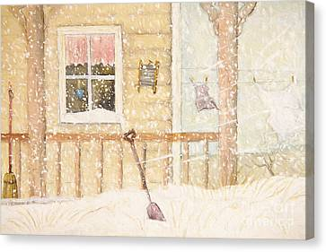 Front Porch In Snow With Clothesline/ Digital Watercolor Canvas Print by Sandra Cunningham