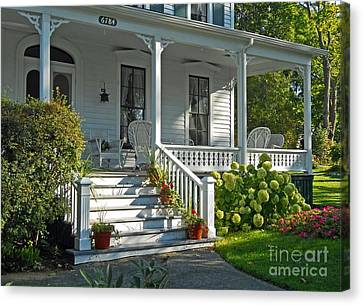 Front Porch In Summer Canvas Print by Desiree Paquette