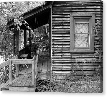 White Frame House Canvas Print - Front Porch by Mel Steinhauer