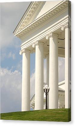 Canvas Print featuring the photograph Front Porch Of Virginia State Capitol Richmond Va by Suzanne Powers