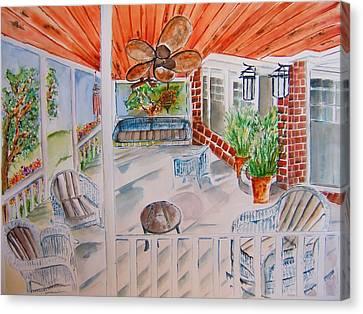 Front Porch Sitting Canvas Print by Elaine Duras
