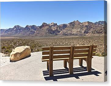 Front Row Seat Looking At The Landscape Red Rock Canyon Nevada. Canvas Print by Gino Rigucci