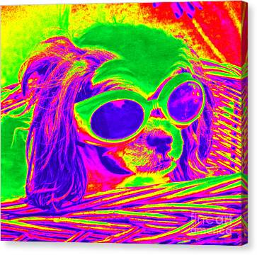 Front Seat Driver Pop Art - Puppy Mania Canvas Print by Ella Kaye Dickey