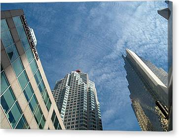 Front Stree Down Town Toronto Sky View Through The Hotels Skyscraper Condo  Housing Buildings Water  Canvas Print
