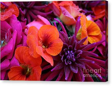 Canvas Print featuring the photograph Dewy Blooms by Jeanette French