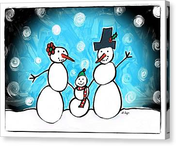 Frosty Family 1 Merry Christmas By Sharon Cummings Canvas Print by Sharon Cummings