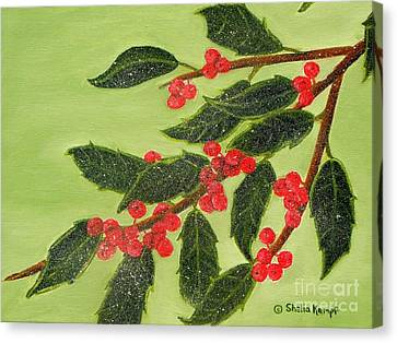 Frosty Holly Berries Canvas Print by Shelia Kempf
