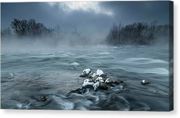 Frosty Canvas Print - Frosty Morning At The River by Tom Meier