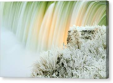 Niagara Falls Illuminated With Winter Frost Canvas Print by Charline Xia