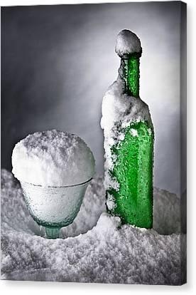 Frozen Bottle Ice Cold Drink Canvas Print by Dirk Ercken