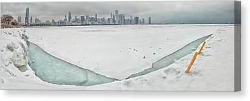 Frozen Chicago Canvas Print by Adam Romanowicz