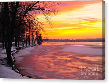 Canvas Print featuring the photograph Frozen Dawn At Lake Cadillac  by Terri Gostola