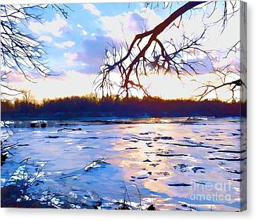 Frozen Delaware River Sunset Canvas Print by Robyn King