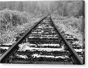 Frozen Illusion - Train Tracks Vanish  Into Frozen Fog Canvas Print by Mark Kiver