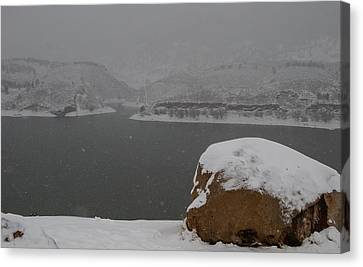 Frozen Inlet Canvas Print by Harry Strharsky