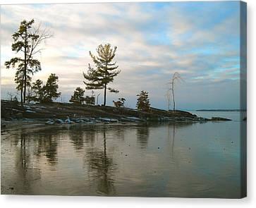 Frozen Lake At Dusk Canvas Print
