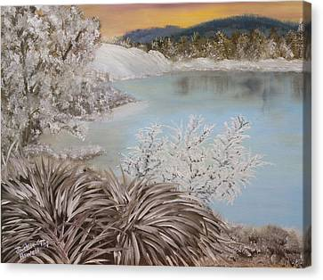 Canvas Print featuring the painting Frozen Lake by J Cheyenne Howell