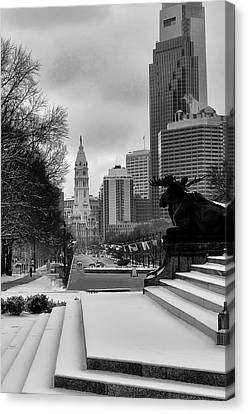 Benjamin Franklin Canvas Print - Frozen Philadelphia by Bill Cannon