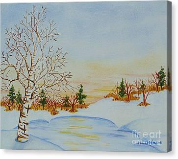 Frozen Pond Canvas Print by Lori Ziemba
